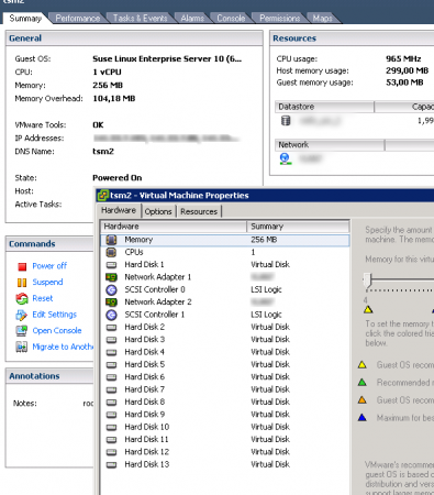 Showing the VM configuration