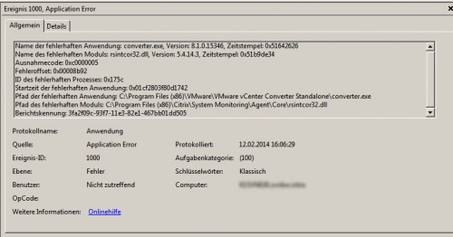 VMware Converter crashing due to rsintcor32.dll
